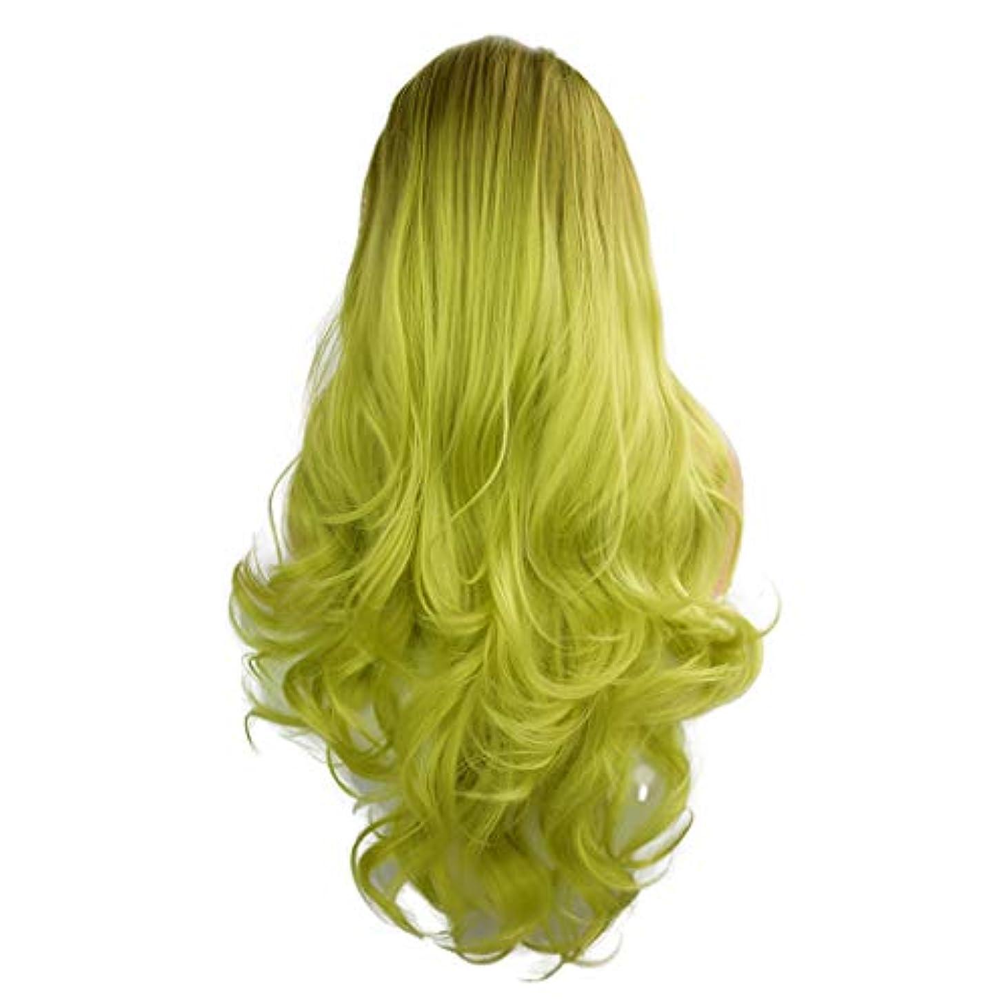 三十寄付権限を与えるかつらグラデーション長い巻き毛のフロントレースファッションかつら26インチ