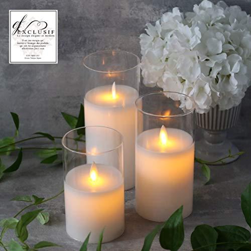 RoomClip商品情報 - <Mサイズ 直径7.5㎝> Exclusif LEDグラスキャンドル 3本セット 揺らぐ炎 本物のロウ LEDキャンドル 高品質ガラス製グラス入り Moving LED Glass Candle