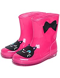 チャイルドレインシューズ,SODIAL(R)可愛いキッズ用レインブーツ 子供 子供用 長靴 ながぐつ 乳児 幼児 小学生 子ども用 雨靴 キッズ ジュニア 男の子 女の子 男女兼用 (15cm バラ色)