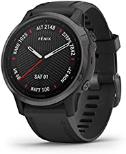 Garmin Fenix 6X Sapphire, Premium Multisport GPS Smartwatch, Carbon Grey With Black Band