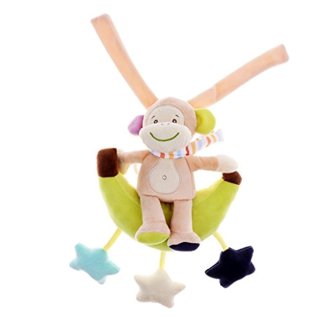 メディカル心配棚DYNWAVE 幼児赤ちゃん動物柔らかいガラガラベッドベビーベッドベビーカーミュージカルハンギングベルおもちゃギフト - モンキー, 49 * 22cm / 19.29 * 8.66インチ