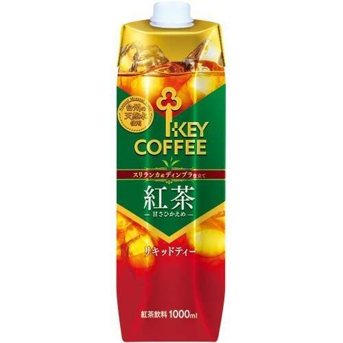 キーコーヒー リキッドティー 天然水 甘さひかえめ テトラプリズマ 1L×6本
