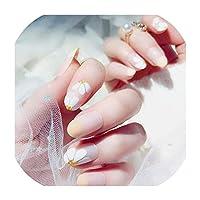女性のための24個の偽のネイルのヒントつや消しマットネイルブラックラブハートプリントデザインで偽爪、Style5のプレス