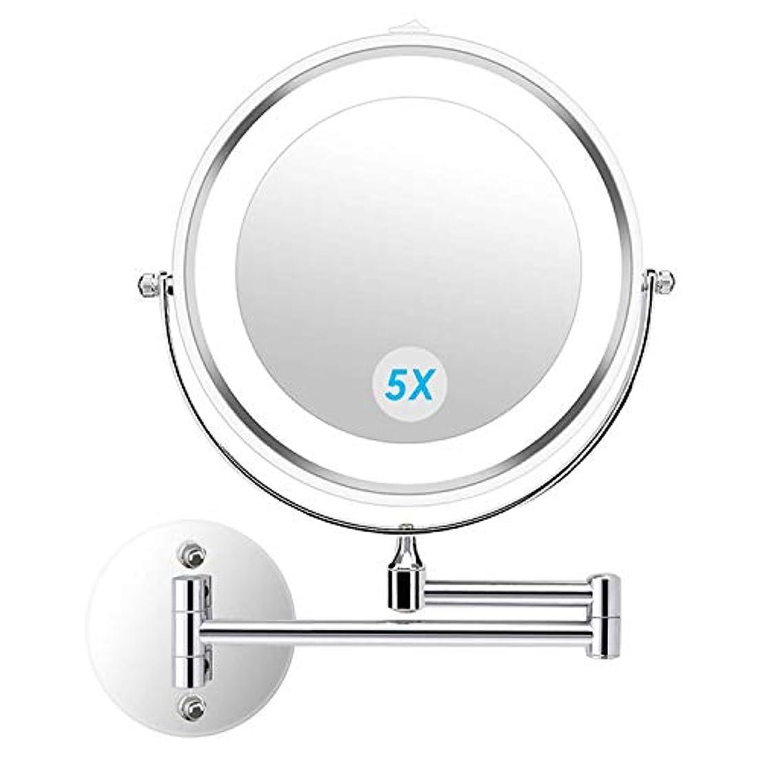 alvorog 壁掛け化粧鏡 4個 電池で駆動バスルームホテル用照明付き両面5倍 倍率360度 スイベル延長化粧化粧鏡を導きました 7