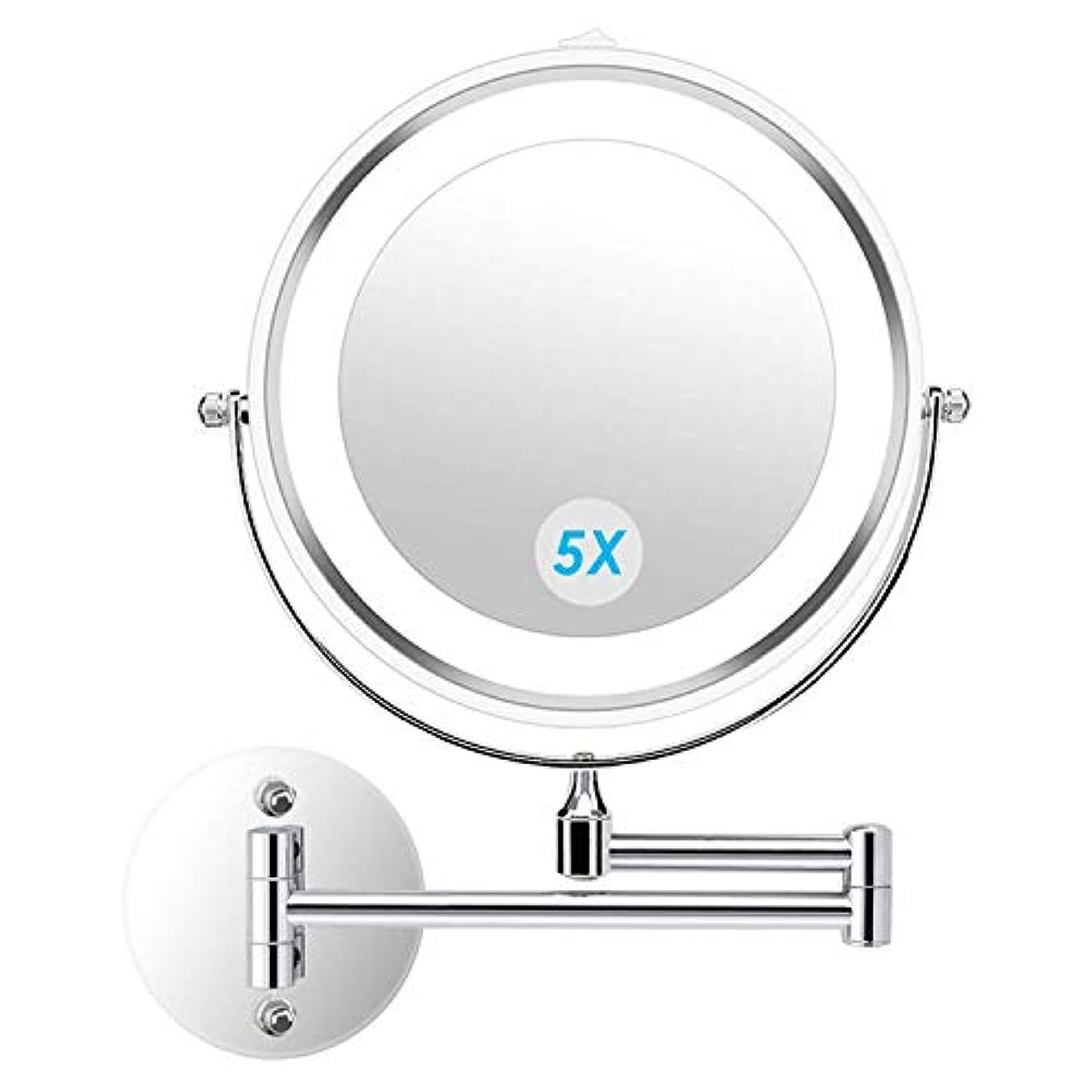 吹きさらし食堂しなやかなalvorog 壁掛け化粧鏡 4個 電池で駆動バスルームホテル用照明付き両面5倍 倍率360度 スイベル延長化粧化粧鏡を導きました 7
