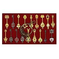 コスプレFairy Tailキー新しいコレクションセットof 18Golden Zodiac Keysとキーリング£¬ブレードルーシーNatsu Dragneelハートキーチェーンペンダント FairyTale-Key-18pc-red