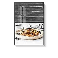 ウォールアート モダンなキッチンのテーマモノクロプリントでキャンバスがハングアップするフレームの印刷ベッドルームレディ絵画 居間および寝室のため (Color : A, Size : 70x90cm)