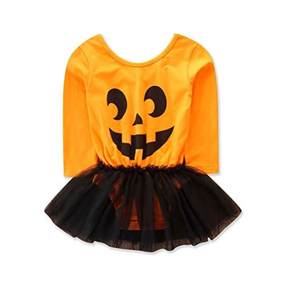 無許可悲観主義者フィットネス春 秋 韓国版 かわいい 女の子 ハロウィン かぼちゃ プリント 長袖 ロンパス チュールスカート ワンピース