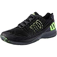 WILSON Men's KAOS 2.0 Clay Court Tennis Shoe Men's Tennis Shoe, Black/Ebony Grn Grecko