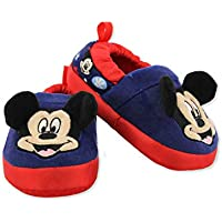 Josmo Kids Mickey Mouse Toddler Boy's Plush A-Line Slippers with 3D Ears