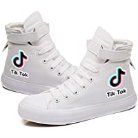 TIK Tok Canvas Sneakers High Top Casual Shoes Rubber Sole Comfortable and Breathable Velcro Shoes Lace Up,White,40