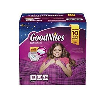 GoodNites Bedtime Underwear - Size 8-14 Girls, 58 ct. おねしょパンツ L-XLサイズ 対応 27キロ~57キロ 58枚 女の子用 《並行輸入》
