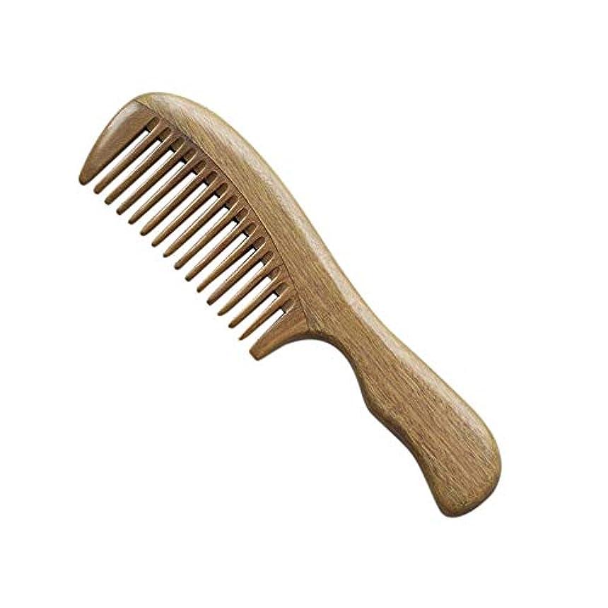 痛み文献そばに女性のためのFashianグリーンサンダルウッドワイド歯静的な手作りの木製くし ヘアケア