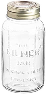 Kilner Anniversary Glass Jar with Gold Lid, 750ml, Clear 02200