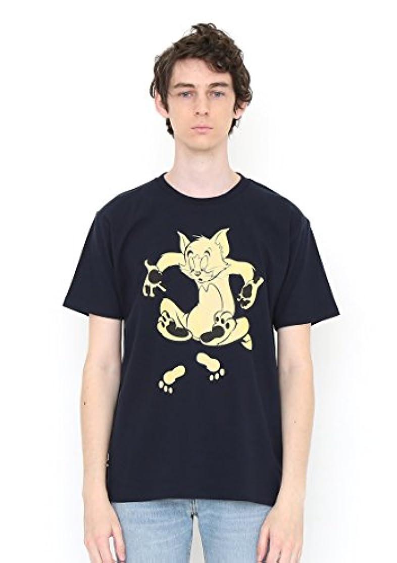 批判骨折成長する(グラニフ) graniph コラボレーション Tシャツ フットプリント (トムとジェリー) (ネイビー)
