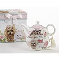 Porcelain Tea for One Tea Pot, Puppy Dog and Kittens Pattern