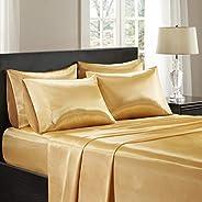 Premier Comfort SHET20-176 Satin 6 Piece Sheet Set, Queen, Gold