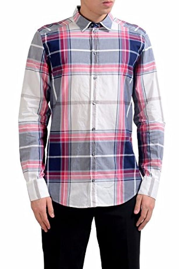 こんにちは援助する竜巻Dolce & Gabbana メンズ 金格子縞のドレスシャツのサイズ US 16 IT 41 マルチカラー
