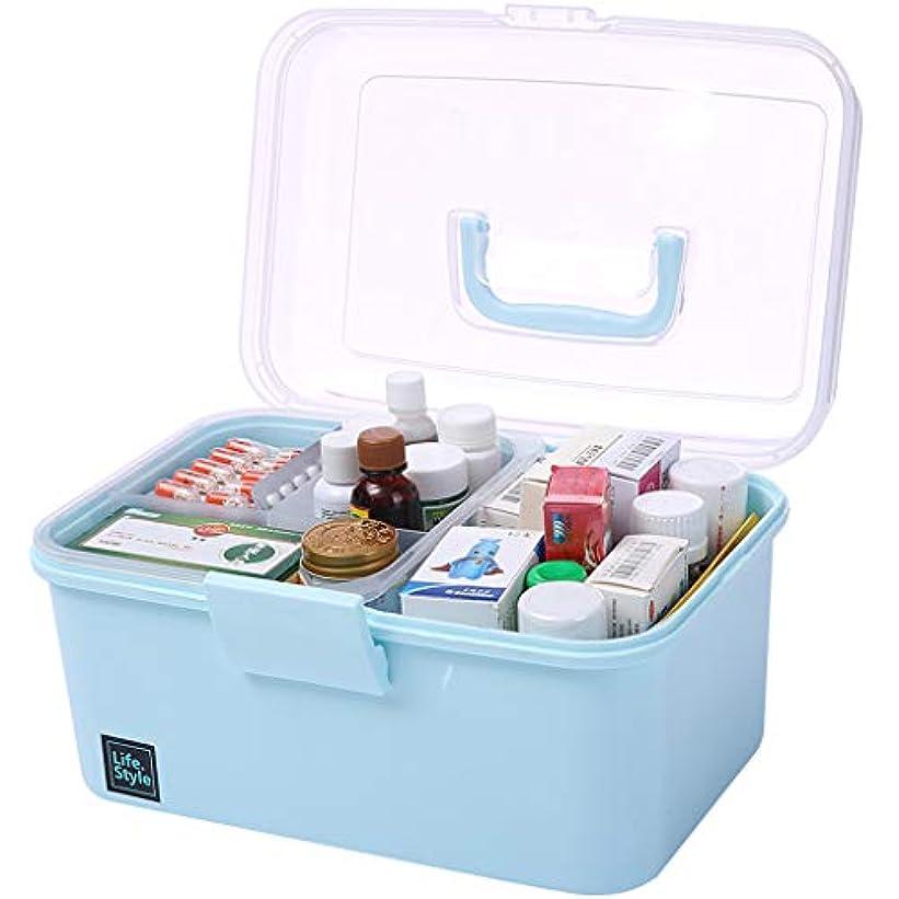 有名人海岸葉っぱKTYXDE 家庭用薬箱大応急処置キット薬箱医療箱家庭児童赤ちゃん薬キットブルー26×17×16.5センチ 薬収納ボックス