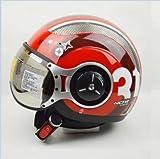 ZEUS 218Cバイクヘルメット ジェットタイプ オープンフェイスヘルメット期間限定、送料無料 男女兼用 メンズ レディース ハーフ パイロット バイクヘルメット シールド付き 安全規格【Lサイズ】レッド 赤い