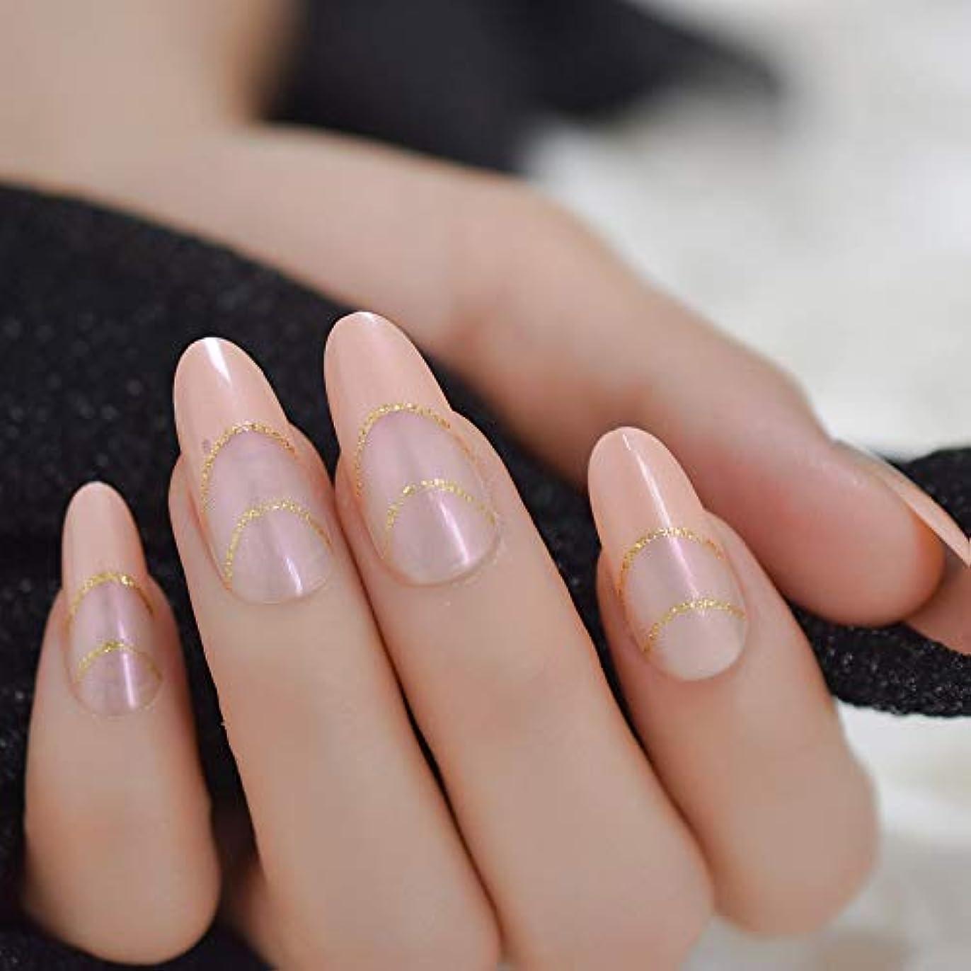 放牧するバー校長XUTXZKA 指のためのマニキュアアートのための裸のピンクのヒントロングラウンド偽ネイルピンクがかったゴールドラメの偽ネイルフォーム