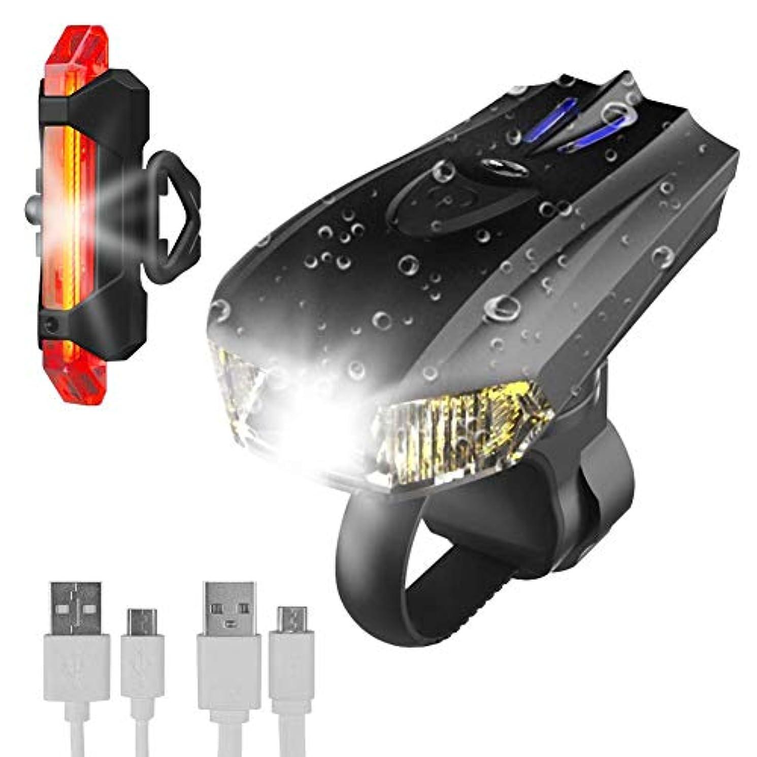 不注意軍ハンディ自転車ライト テールライト付 USB充電式 LED自転車ライト LEDライト 充電式ライト 防水 自動センサー付き USB充電 省エネモード 明るい 自動(オート)で点灯/消灯 懐中電灯 400ルーメン 高輝度 LED IP65防水 50mを照らす明るいライトインテリジェントな光と振動センサー技術と5つのモード(スマート、安全サイドライト、ミッド、ハイ、フラッシュ)