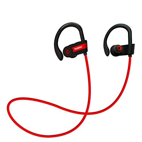 Tiumso Bluetooth スポーツイヤホン 高音質 ブルートゥース イヤホン ランニング用 ノイズキャンセリング 防水 防汗 耳掛け式 iPhone 7/ 7Plus/6 Sony Android スマートフォンなどに対応 (赤)