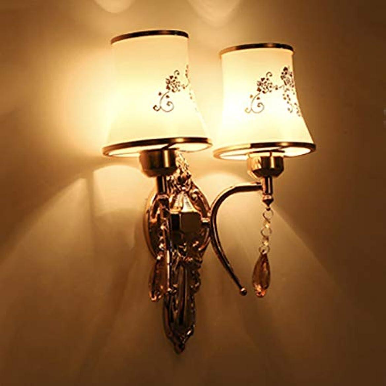 しかし知るシールヴィンテージヨーロッパクリスタルダブルヘッドウォールライト錬鉄製の装飾ガラスランプシェードリビングルームの寝室の壁ランプ、(18 cm * 39 cm)