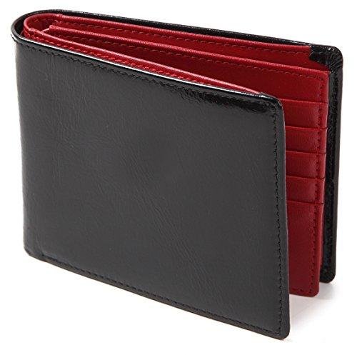 (ポルトラーノ) portolano 二つ折り財布 本革 牛革 大容量 カード15枚収納 メンズ レディース (ブラック×レッド)