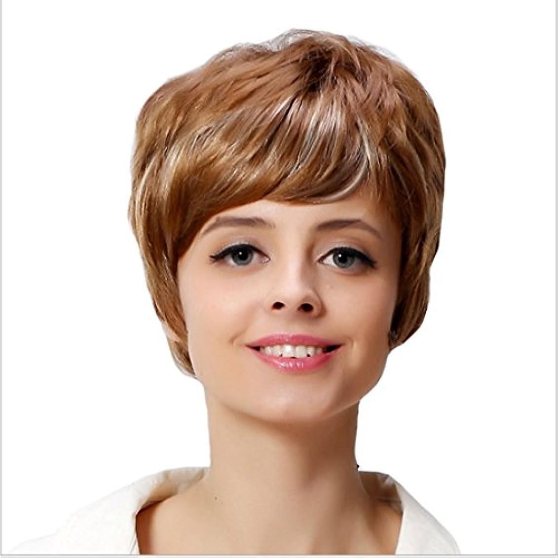 礼儀有益な体操YOUQIU ホワイト女性のためのフラット前髪毛180グラムかつらを持つ女性カーリー耐熱ウィッグのために10インチ/ 12インチショートウェーブゴールドウィッグ (サイズ : 10inch)