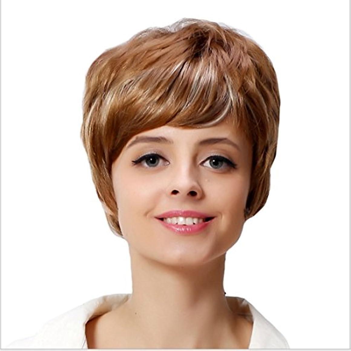 ズボン広大なその結果YOUQIU ホワイト女性のためのフラット前髪毛180グラムかつらを持つ女性カーリー耐熱ウィッグのために10インチ/ 12インチショートウェーブゴールドウィッグ (サイズ : 10inch)