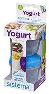 Sistema To Go Collection Yogurt Food Storage Container, 5 Ounce, Assorted Colors, Set of 2 by Sistema