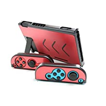 Aluminum Anti-Scratch Dustproof Hard Back Protective Case Cover Shells for Nintendo Switch NS Console with Joy-Con Controller (Red)