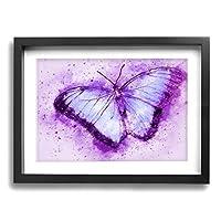 DJIANRONG 紫の蝶 装飾絵画 アートフレーム インテリア絵画 装飾 額縁 フレーム付き 釘付き アート ポスター ウォールアート (40X30cm)