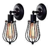 ウォールランプ ブラケットライト 間接照明おしゃれ 2個入調光可能 240°調整可能 E26 レトロライト アンティーク ライト KingSo ウォールライト 壁照明 アンティーク調 工業北欧風 階段照明 黒色(電球は別売り)