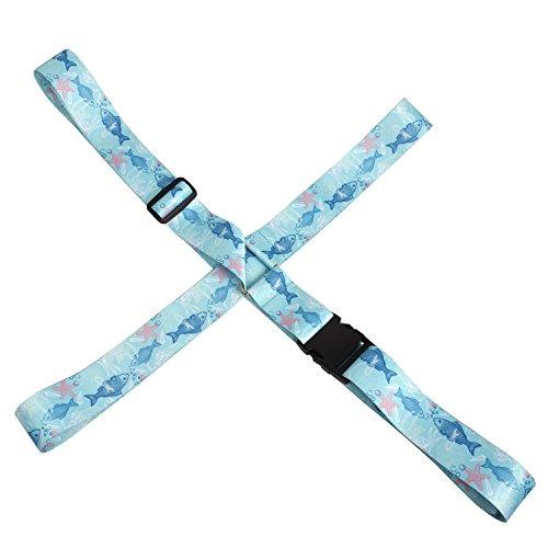 Kroeus(クロース) スーツケースベルト 十字 調節可能 おしゃれ 旅行 出張 可愛い トランクベルト 固定ベルト ワンタッチ ブルー