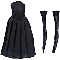 Lovoski 1/6スケール 黒 素敵 ストラップレス  ドレス フォーマル  スカート ストッキング  12インチ女性フィギュア適用 全2種類  - 靴無し