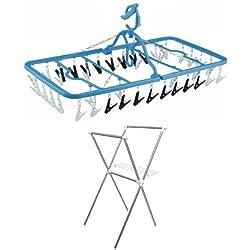 【セット買い】ダイヤ 干し分けハンガー ストロング40ピンチ付 + アイリスオーヤマ 物干し 簡単組み立て室内物干し ステンレス 幅700×奥行780×高さ1300mm H-70X