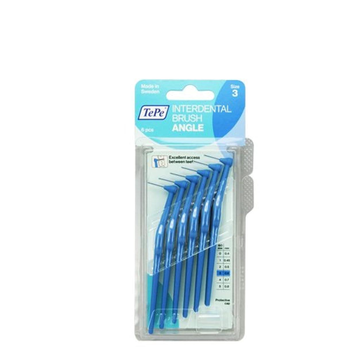 植生漂流独創的テペ アングル 歯間ブラシ 6本入 キャップ1本入 ブルー(0.6mm)