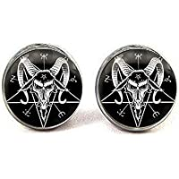 satanic goat pentagram Earrings jewelry