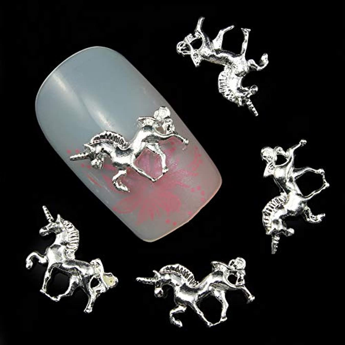 泣くほのめかす外交問題マニキュア爪アクセサリーのための10pcs 3D銀合金馬の装飾接着ラインストーンネイルアート