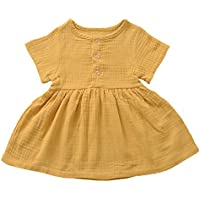 Weixinbuy Toddler Baby Girls Dresses Round Collar Short Sleeve Cotton Linen Skirt Dress