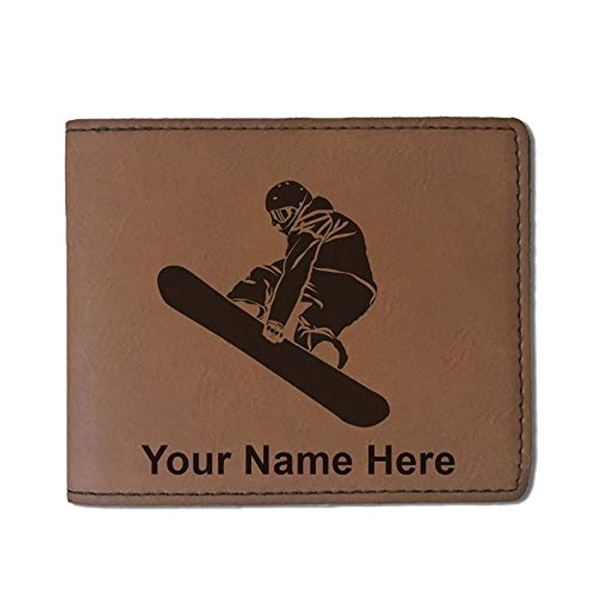 漏斗地雷原の慈悲でフェイクレザー財布 – Snowboarder Man – カスタマイズ彫刻Included (ダークブラウン)