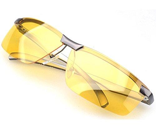 Forpend メンズナイトウォーキング用サングラス 偏光 UV400 防紫外線 夜間運転用「ウェス+ケース付3点セット」日夜通用-Grey