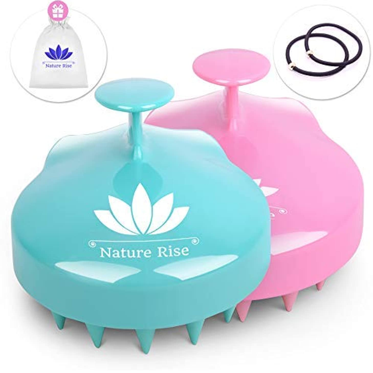 はさみ処分した征服者Nature Rise Hair Scalp Massager   2 Pack Wet & Dry Hair Shampoo Brush for Women Men Pets   Scalp Brush Scrubber...