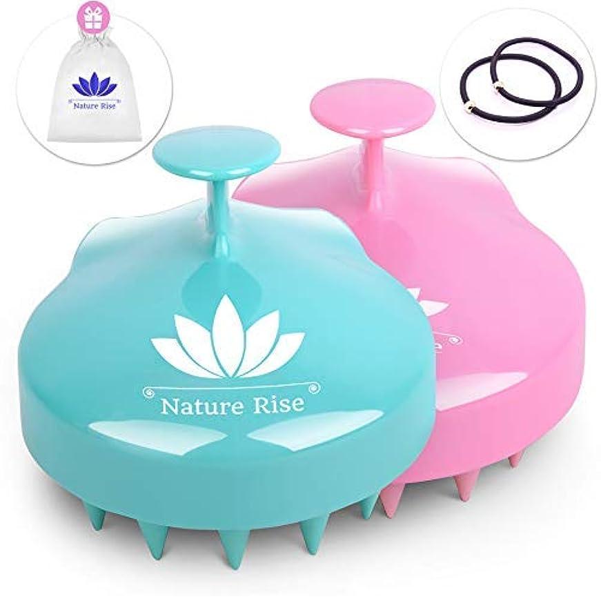 世界小川ありふれたNature Rise Hair Scalp Massager | 2 Pack Wet & Dry Hair Shampoo Brush for Women Men Pets | Scalp Brush Scrubber...