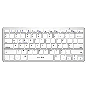 Bluetooth ワイヤレスキーボード 静音設計 超薄型 軽量 78キー 英語配列 iOS/Android/Windows/Microsoft に対応 無線キーボード ホワイト
