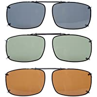Eyekepper Grey/Brown/G15 Lens 3-pack Clip-on Polarized Sunglasses 58x38 MM
