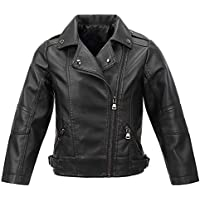 famuka Boys Girls Spring Motorcycle Faux Leather Windproof Lapel Jackets with Oblique Zipper