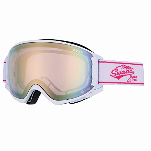 SWANS(スワンズ) ゴーグル スキー スノーボード ミラー 呼吸するゴーグル ロヴォ [ROV]O-MDH-SC-PAF W/PI ホワイト×ピンク